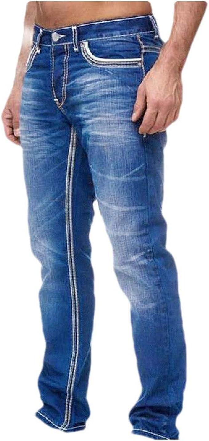 Romancly メンズ ストレート レッグ ウォッシュ フィット フィット ポケット カジュアル レジャー ミッドウエスト ジーンズ