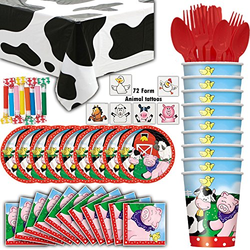 Farm House Animal Party Supplies - 8 Guest - Plates, Cups, Napkins, Cow Tablecloth, Cutlery, Farm Animal Tattoos, Blowouts - Perfect for a Farmer or Petting Zoo Theme Birthday Party