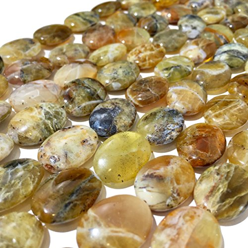 [ABCgems] Rare Tanzanian Honey Opal AKA Yellow Moss Opal (Exquisite Color- Beautiful Inclusions) 15x20mm Smooth Oval Beads For Beading & Jewelry Making