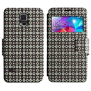 AADes Scratchproof PU Leather Flip Stand Case Samsung Galaxy S5 V SM-G900 ( Small Hearts )