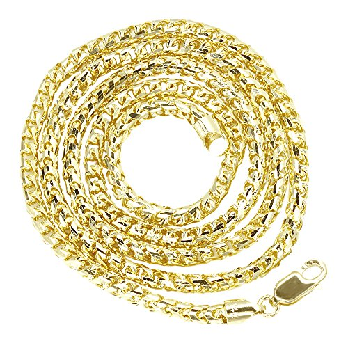Luxurman 14K Yellow Gold 4mm Wide Solid Round Franco Chain