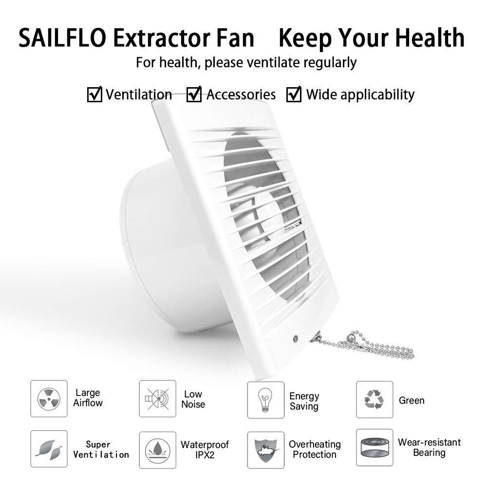 SAILFLO Extractor de Ba/ño Ventiladores de Ba/ño 100mm con Parabrisas Interruptor de Cadena Pared Gran Flujo de Aire para Ventana Cocina Garaje Tienda Inodoro 4Di/ámetro
