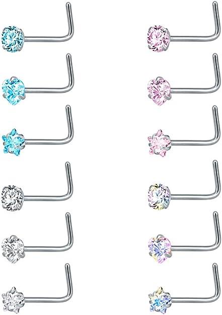 Surgical Steel Lavender Opal Flower Nose Bent L Shape Stud Pin Post 20 gauge 20g