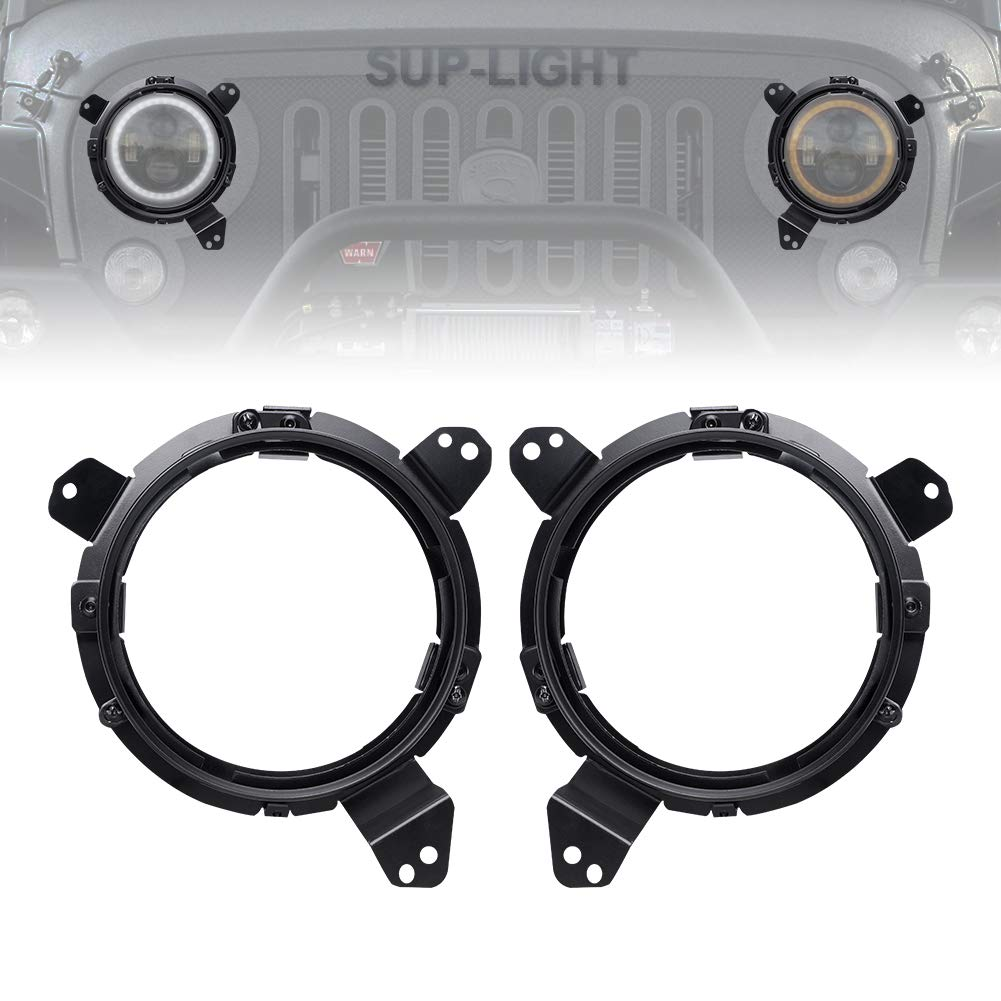 SUP-LIGHT 9 Inch Round Chrome Omni-Directional Bilaterally Symmetric Headlight Mounting Bracket for 2018 Jeep Wrangler JL(Black Pair)