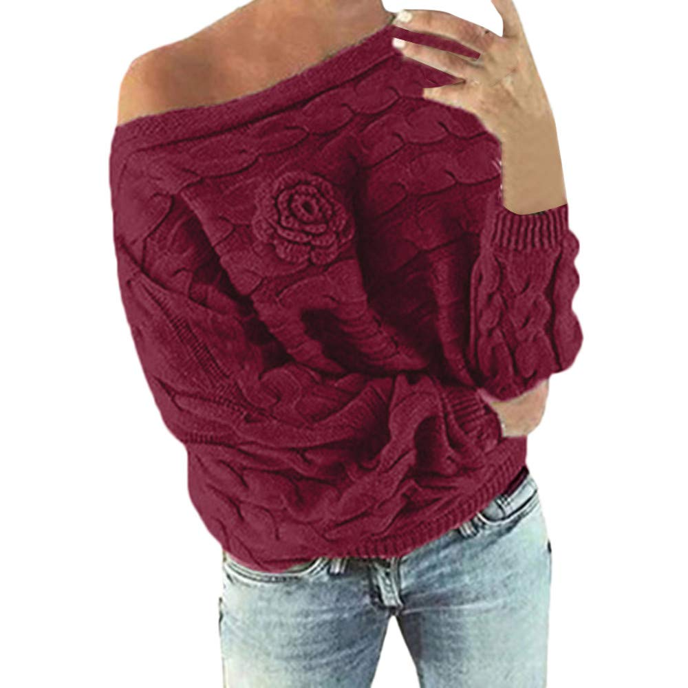 Lazzboy Womens Sweater Knitted Long Sleeve Slash Neck Batwing Boutonniere Plain Loose Pullover Jumper