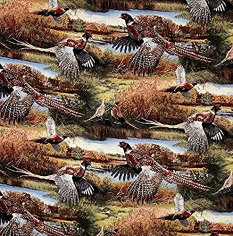 Beautiful Pheasants Birds Wallhanging 100/% Cotton Fabric by the panel
