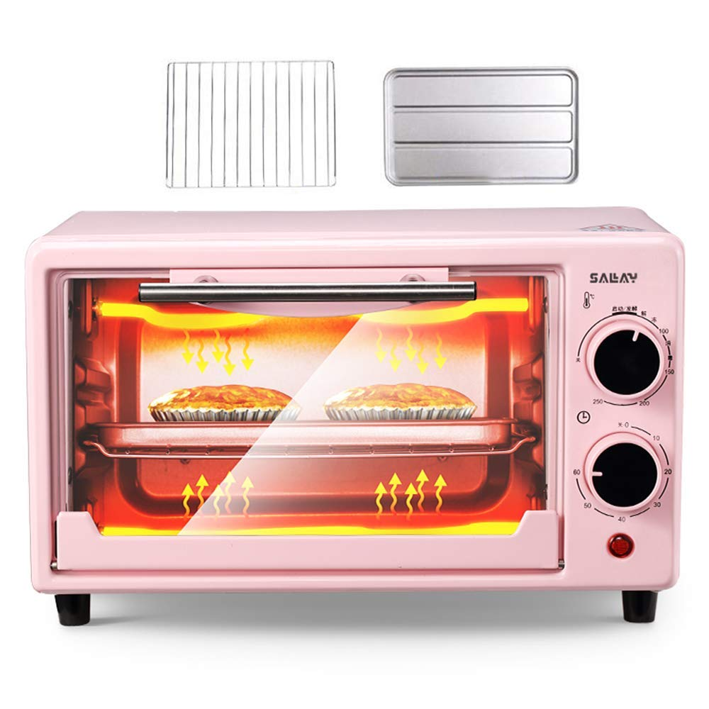 Electric Mini Oven, With grill pan and grill net,Double layer 10 liter multifunctional stainless steel oven,With fermentation and thawing function,Adjustable Temperature Control,Timer - 800W