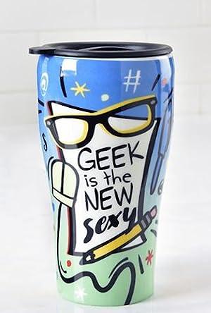 Gift Craft Ceramic Travel Mug - Geek is the New Sexy