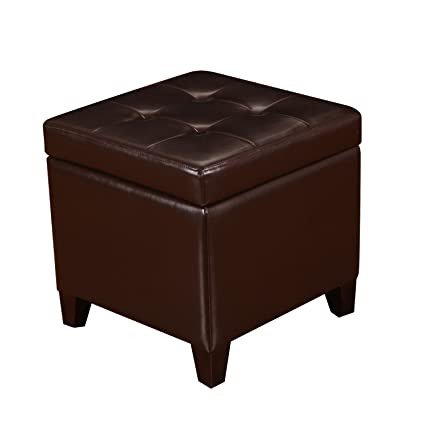 Joveco Brown Bonded Leather Button Tufted Small Square Storage Ottoman