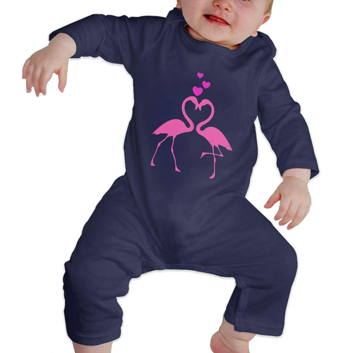 Baby Girls Long Sleeve Jumpsuit Flamingo Love Birds Hearts-1 Kid Pajamas
