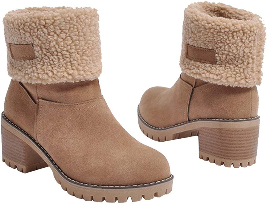 Inornever Womens Winter Short Boots Round Toe PU Chunky Low Heel Faux Fur Warm Platform Ankle Snow Booties