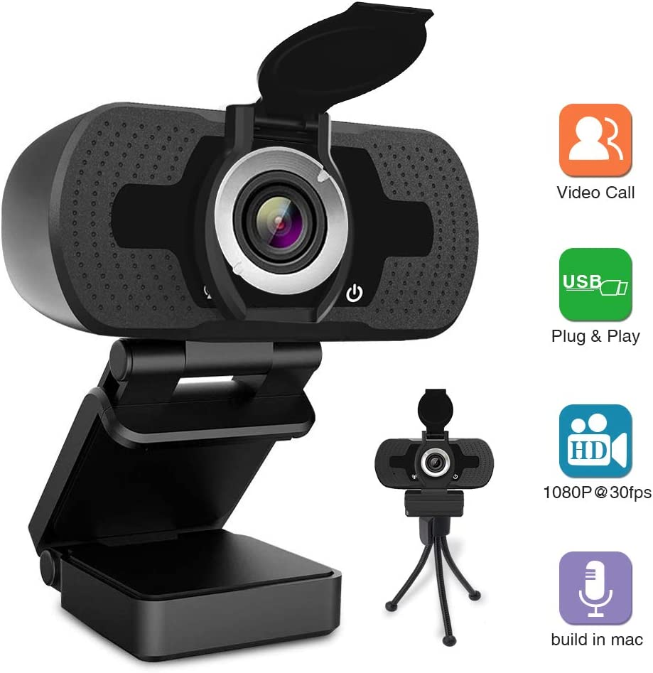 HZQDLN HD Webcam 1080P, USB Desktop Laptop Camera with110-Degree View Angle, Digital Web Camera with Stereo Microphone, Stream Webcam for Video Calling and Recording with Webcam Cover and Tripod
