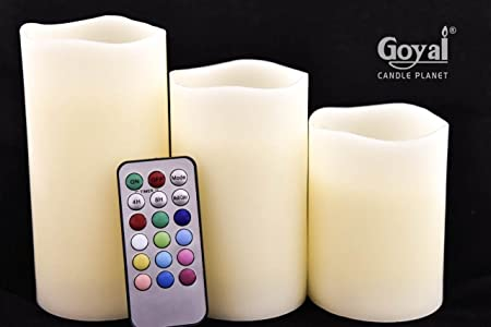GOYAL LUMA Wax LED 12 Colours Changing and Flameless Candles with Remote and Timer Features - Set of 3