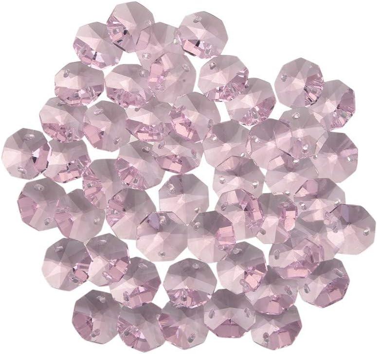 50PCS Black Crystal Octagon Beads Chandelier Lamp Parts Wedding Hang Decor 14MM
