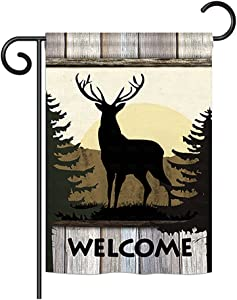 """Breeze Decor G160110 Welcome Deer Nature Wildlife Impressions Decorative Vertical Garden Flag 13"""" x 18.5"""" Printed In USA Multi-Color"""