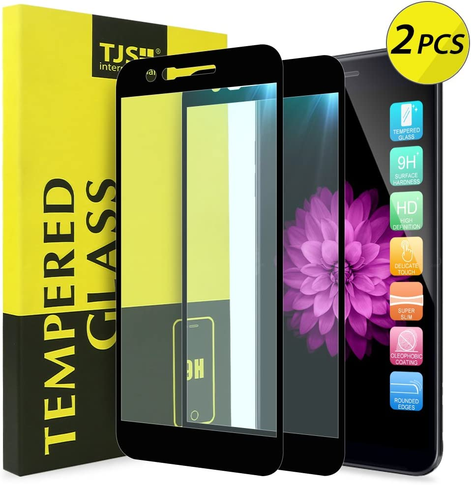 [2-Pack] TJS for LG K10 2018 / LG K30 / LG Premier Pro LTE/LG Harmony 2 / LG Phoenix Plus [Tempered Glass] Case Friendly Screen Protector, Bubble Free with Lifetime Replacement Warranty (Black)
