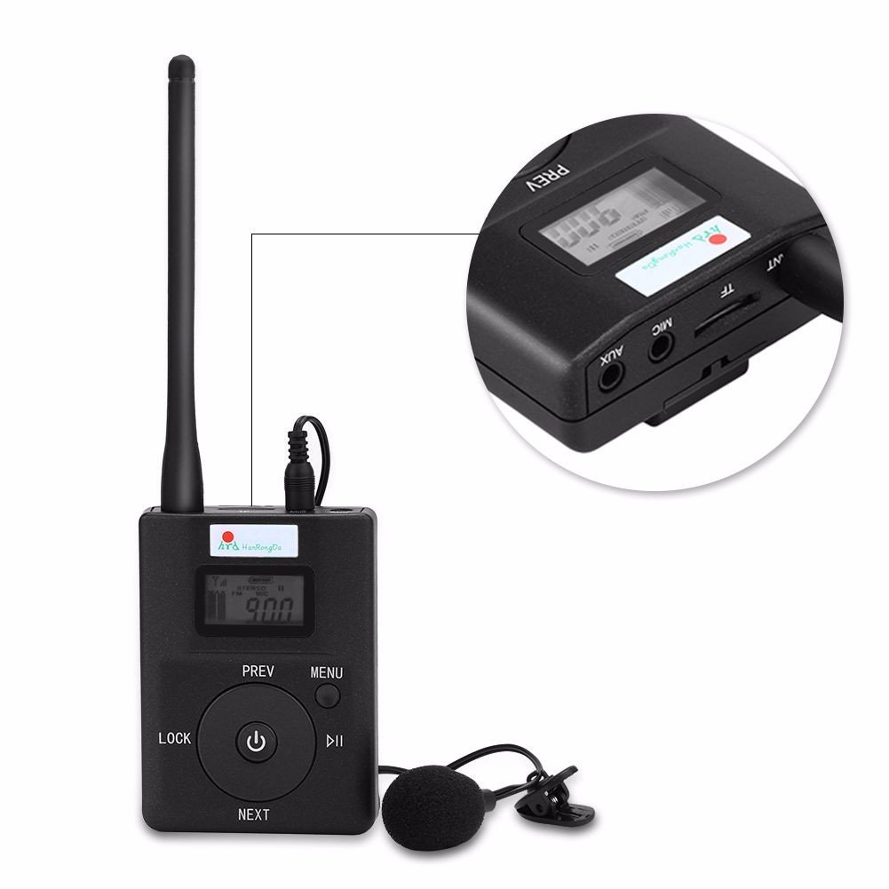 EXMAX Portable 0.2W/200mW Stereo Wireless FM Radio MP3 Music Player Broadcast Transmitter with 3.5mm AUX Microphone Support TF Card for Tour Guide System Teaching Translation Meeting Black by EXMAX