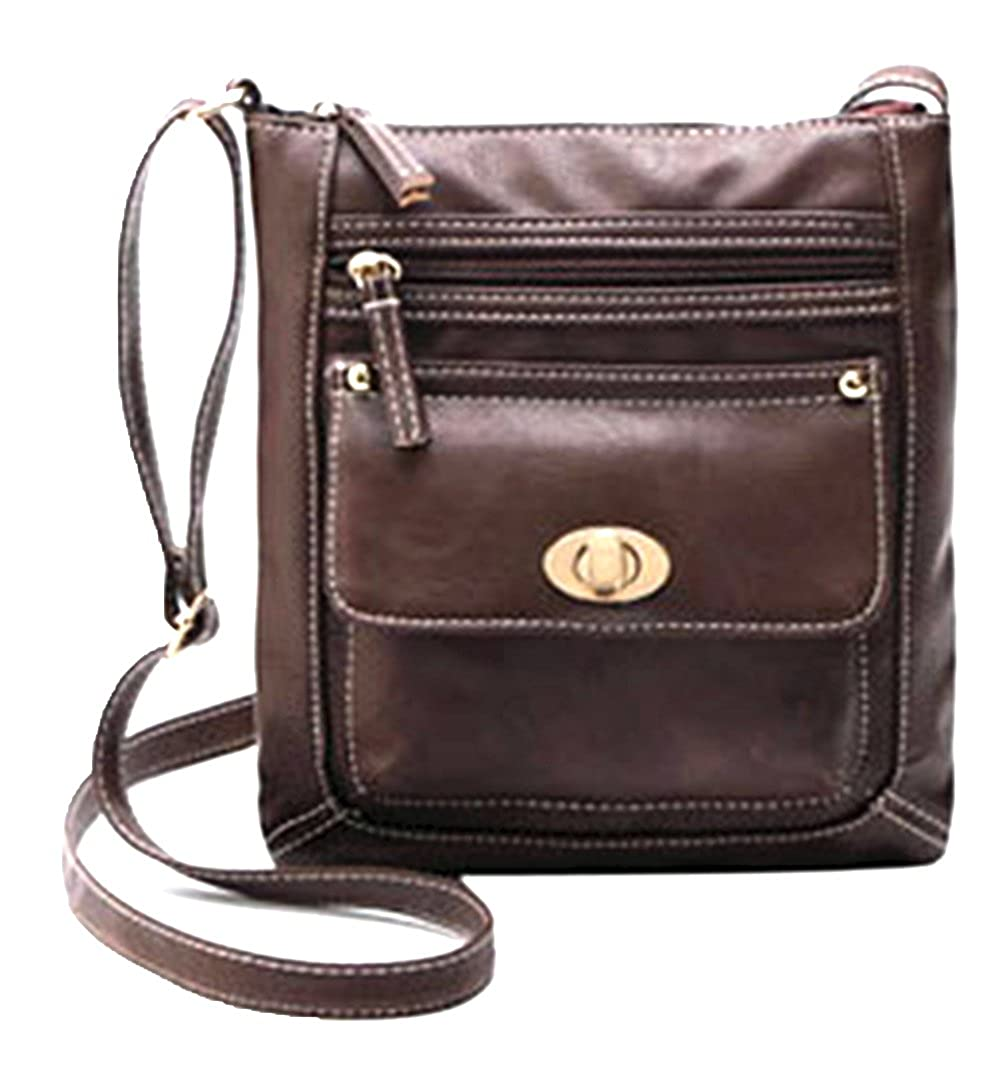 Brown Cross Body Messenger Bag Faux Leather Zippered Knob Closure