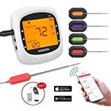 Wireless Meat Thermometer for Grilling, Bluetooth Meat Thermometer Digital BBQ Cooking Thermometer with 4 Probes, Alarm…