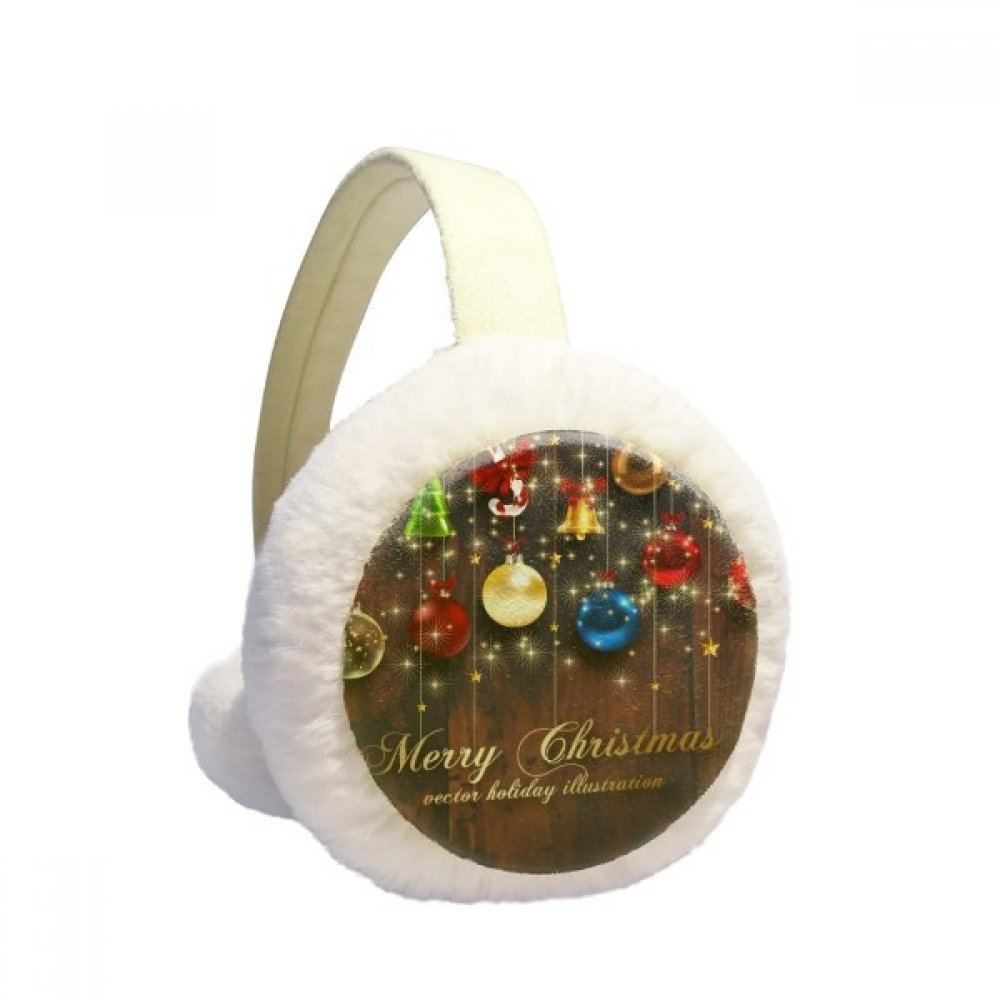 Christmas Bulb Bell Crutch Tree Festival Winter Earmuffs Ear Warmers Faux Fur Foldable Plush Outdoor Gift