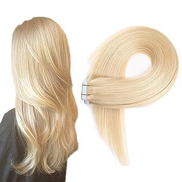 Echthaar Tape In Extensions Haarverdichtung Haarverlängerung Glatt