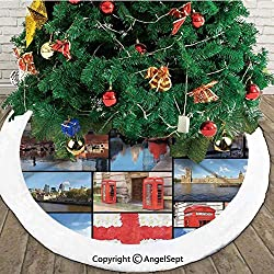 England City Red Telephone Booth Clock Tower Bridge River British Flag with Flowers,Christmas Tree Skirt Mat,Blue Red,48 inches,Christmas Holiday Party Decoration