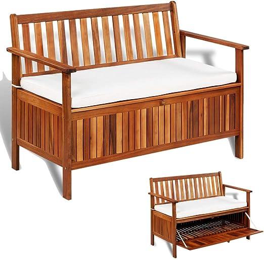 Baúl Patio Bench, baúl de jardín exterior de madera maciza de acacia, baúl contenedor de jardín, baúl de almacenamiento de exterior, 120 x 63 x 84 cm: Amazon.es: Hogar