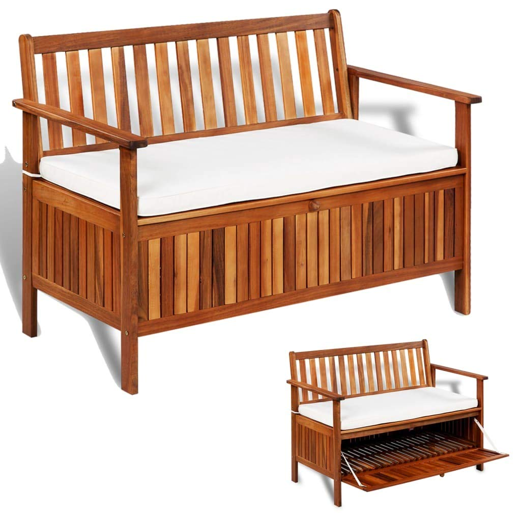 HELLOLAND 2 Seater Outdoor Patio Wood Storage Bench Garden Deck Box with Comfortable Cushion & Back