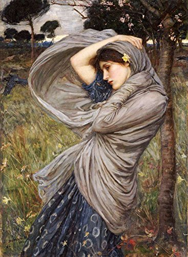 Canvas Art Print Reproduction Unmounted - 45X60cm (Approx. 18X24inch) Boreas Giclee by John William Waterhouse - Mythology Paintings Giclee Picture Artwork Wall Decor