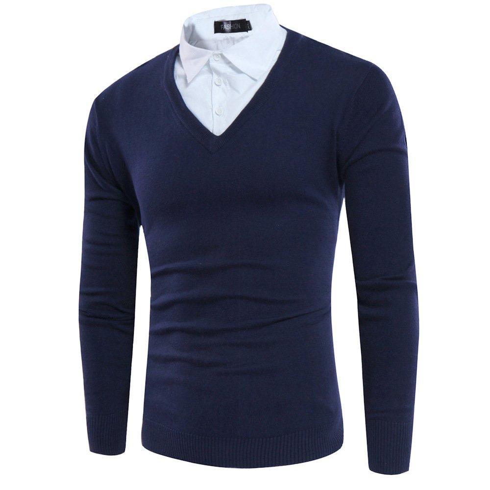 Jdfosvm Slim langärmelige Pullover Pullover, Zwei männer wurden kursverfall Herbst Jugend Slim langärmelige Pullover,Die Marine in Tibet,XL