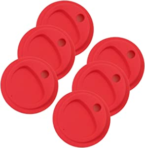 THINKCHANCES Reusable Food Grade and BPA Free Silicone Circular Straw Hole Coffee Juice Drinking Sip Lid for Mason, Ball, Canning Jars (Wide Mouth, Candy Red) 6 Pack