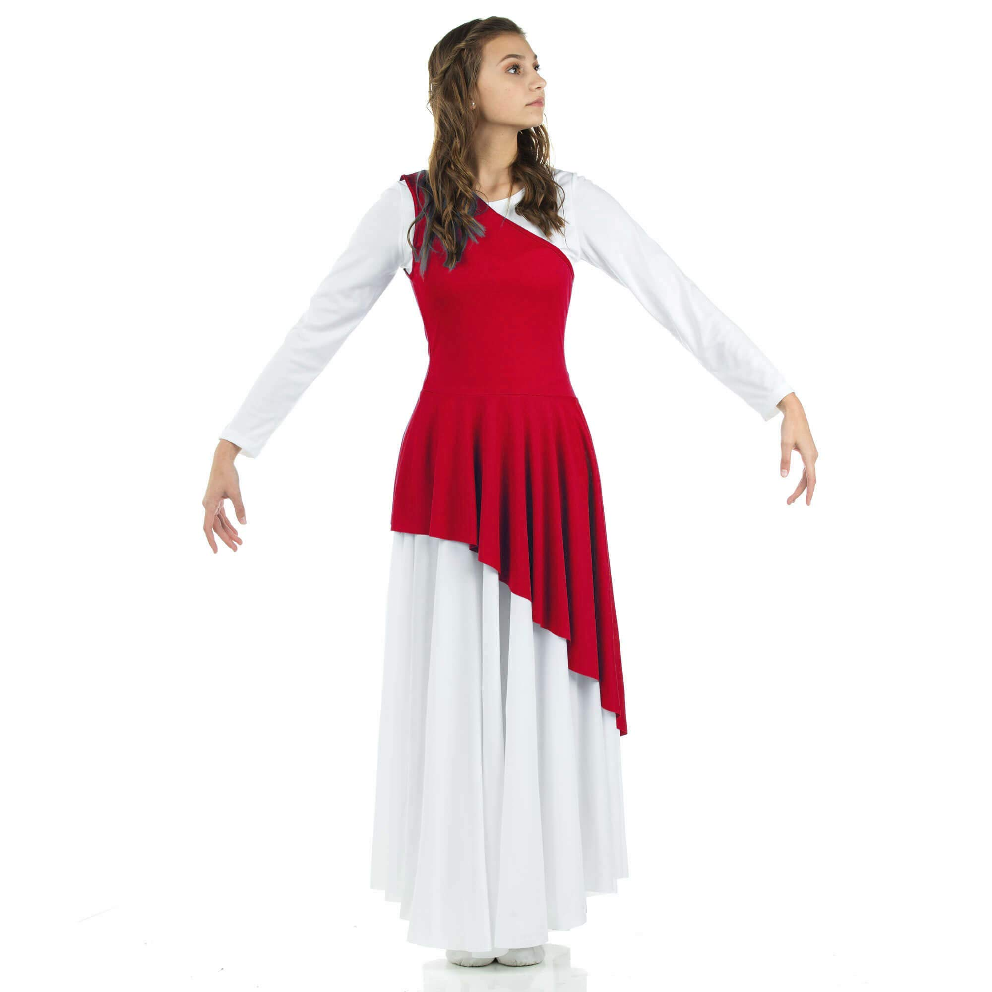 Danzcue Girl's Asymmetrical Praise Dance Tunic (Scarlet, S-M-Child) by Danzcue