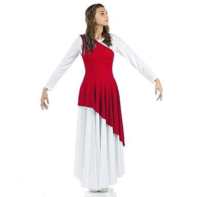 5d127ea01840 Danzcue Women's Asymmetrical Praise Dance Tunic, Scarlet, S-M-Adult