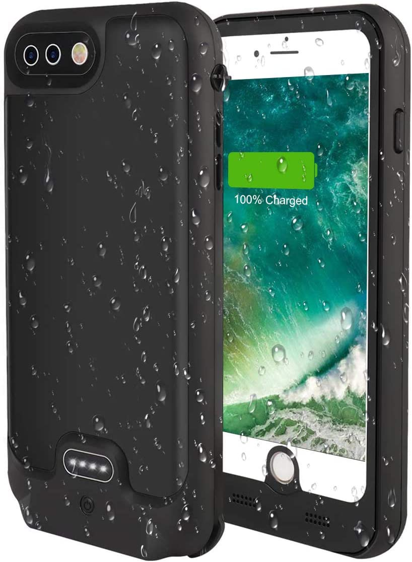 iPhone 8 Plus/iPhone 7 Plus Battery Case 4800mAh, Wireless Charging & Lightning Headphone Supported, Portable Charger Case Fully Sealed Rugged Case for iPhone 7Plus/8Plus 5.5inch