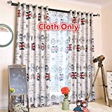 WPKIRA Fashion British Style Grommet Top Meter Word Flag Pattern Print Room Darkening Thermal Insulated Blackout Blackout Window Curtain/Panel, 1 Panel W52 x L84 inch Review