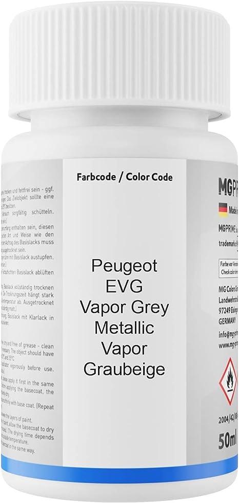 Mg Prime Autolack Lackstift Set Für Peugeot Evg Vapor Grey Metallic Vapor Graubeige Basislack Klarlack Je 50ml Auto