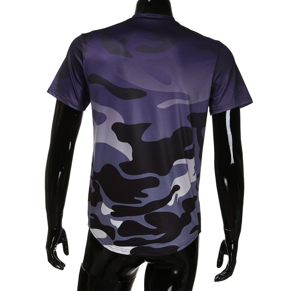 Fashion Personality Camouflage Mens Casual Slim Short-Sleeved Shirt Top Blouse