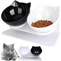 Double Oblique Bowls Cat Bow With Raised Stand Non-slip Dog Cat Food Water Feeder White Black Cat Bowl