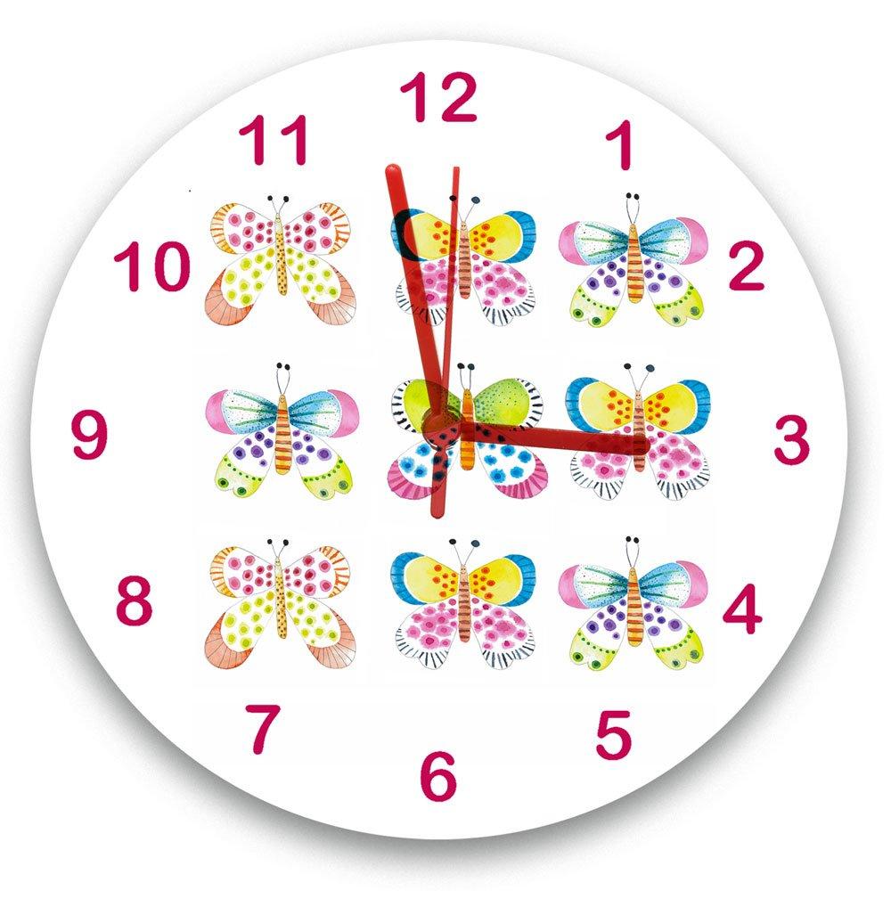 tigerlilyprints Butterfly Garden Clock, Girls Clock, Girls Gifts, Clocks UK, Children's Clock, Kids Clock, Bedroom Clocks, Pink Clock, Cute Clocks Children's Clock