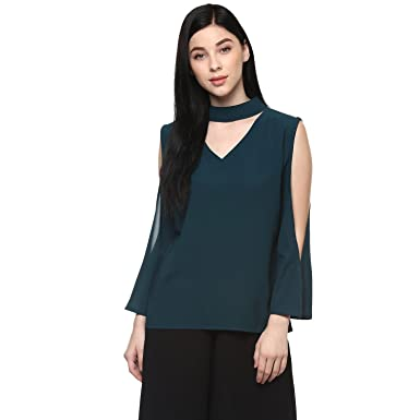 4c46a7729064d Pannkh Women s Green Polyester Relaxed Fit Plain Solid Top  Amazon ...