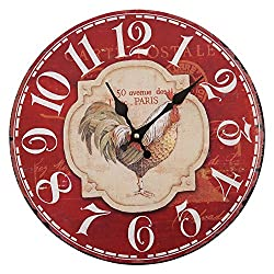 Vintage Wood Rooster Chicken Wall Clocks