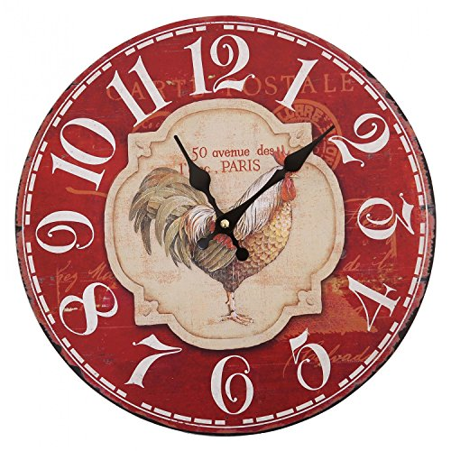 Vintage Wood Rooster Chicken Wall Clocks - cute red wall decor