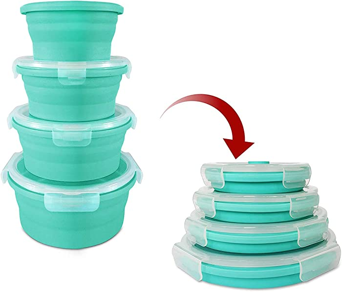 Collapsible Silicone Food Storage Containers - Round With Airtight Lids Prep Lunch Box Container - Bpa Free, Freezer and Microwave Safe, Stackable & Space Saving, Travel Food Storage Containers 4 Pack
