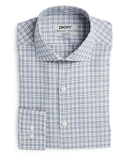 Dkny dress shirt slim fit stretch pinpoint solid long-sleeve shirt