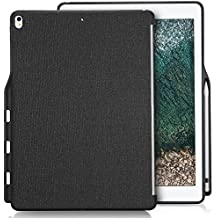 Apple iPad Pro 12.9 Case, ProCase Companion Cover for iPad Pro 12.9 Inch (Both 2017 and 2015 Models), Back Cover with Apple Pencil Holder, Match for Apple Smart keyboard and Smart Cover -Black