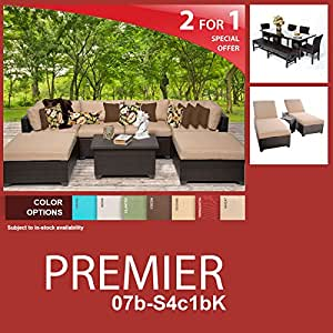 Premier 16 Piece Outdoor Wicker Patio Furniture Package PREMIER-07b-S4c1bK
