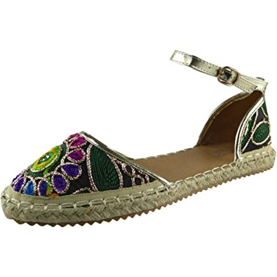Loud Look New Womens Ladies Ankle Strap Espadrilles Shoes Embroidered  Sandals Flats Size 3