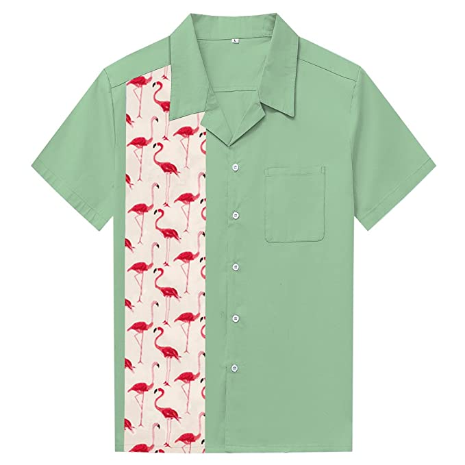 Retro Tiki Dress – Tropical, Hawaiian Dresses Anchor MSJ Mens 50s Male Clothing Rockabilly Style Casual Cotton Blouse Mens Fifties Bowling Dress Shirts $26.88 AT vintagedancer.com
