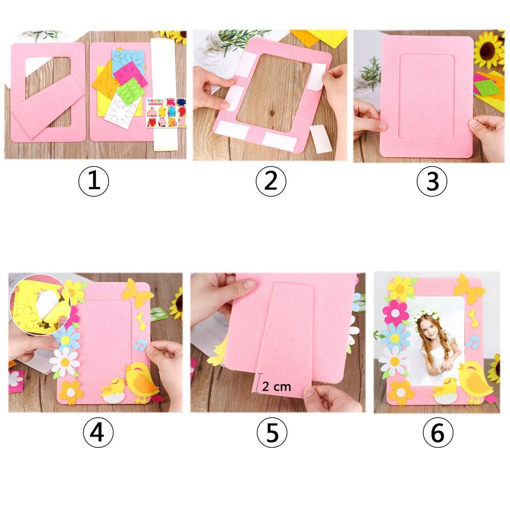 Yuccer 6 PCS Cadre Photo Enfant Kit Activit/és Manuelles pour Enfants Loisir Creatif Couture pour Fille Kit Cadre Photo /à D/écorer