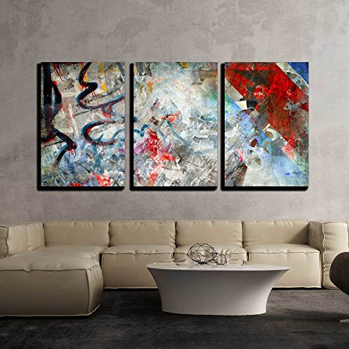 Grunge Art (wall26 - 3 Piece Canvas Wall Art - Illustration - Graffiti Background, Grunge Illustration - Modern Home Decor Stretched and Framed Ready to Hang - 16